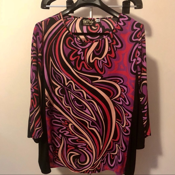 95bc2871b89e54 Bob Mackie Tops - Bob Mackie Wearable Art pullover blouse